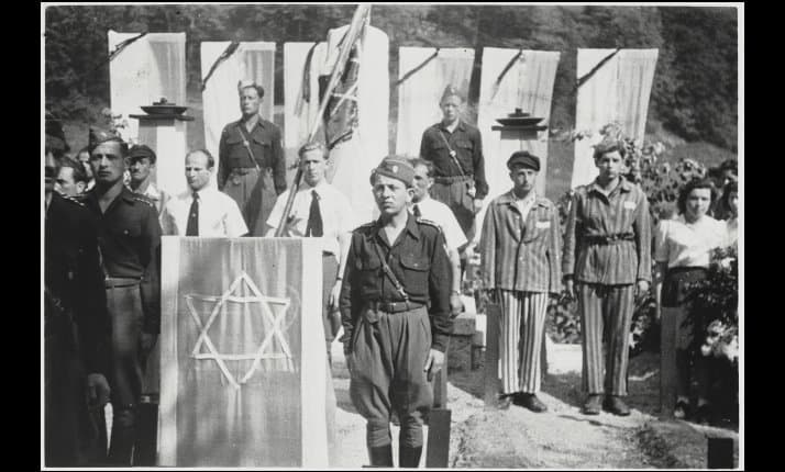 Jewish displaced persons take part in their first memorial after liberation at Mauthausen, Austria