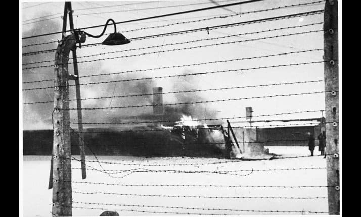 Before leaving the camp the SS set fire to the Kanada barracks to destroy the evidence.