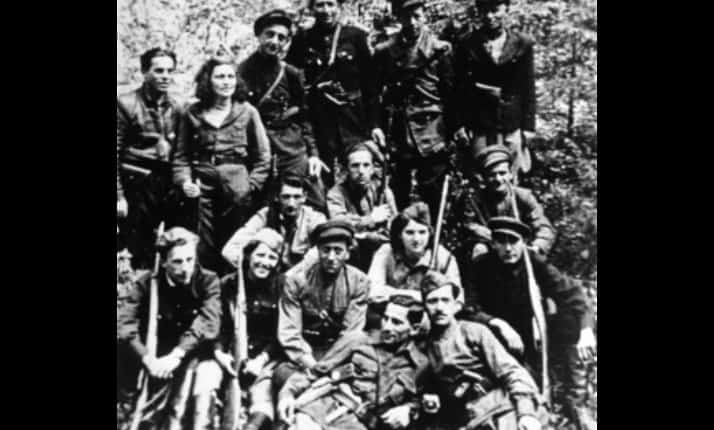 A group of Jewish partisans active in the forests of Belarus. Many of them were active in the Kovno ghetto.