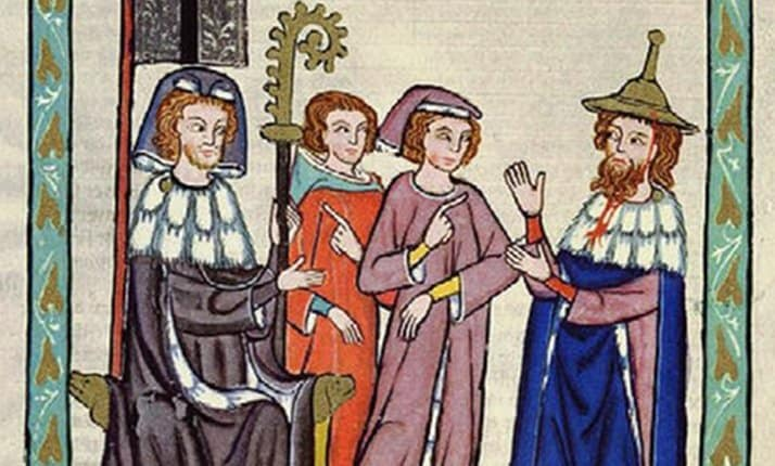 The medieval period saw Jews experience intense antisemitism. One feature of this antisemitism was laws which restricted Jews freedom. This painting shows one such law, where Jews were forced to wear specific clothing to identify themselves as Jews.