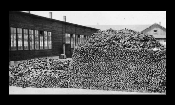 A large pile of victims shoes, Dachau after liberation.