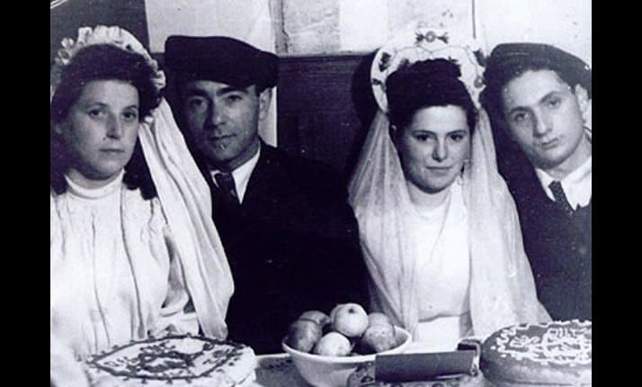 Two couples on their wedding day at Pocking displaced persons camp, Germany, 1946. On the left are Rachel Spracher and Yishayahu Novogrodsky