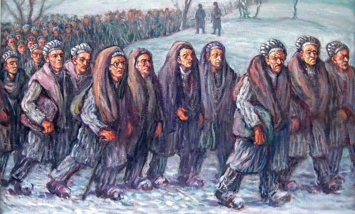 "'Death March from Camp Gleiwitz I to Camp Blechhammer', a painting by David Friedmann (1947). Friedmann was a survivor of the Lodz Ghetto, Gleiwitz I (a sub-camp of the Auschwitz-Birkenau complex) and the death march. The artist depicts himself as the prisoner with the glasses and wrote: ""I was unable to walk and would never have reached the camp were it not for the French Doctor Orenstein and two other friends who helped me alternately. A few days later, we were liberated there by the Russians."""