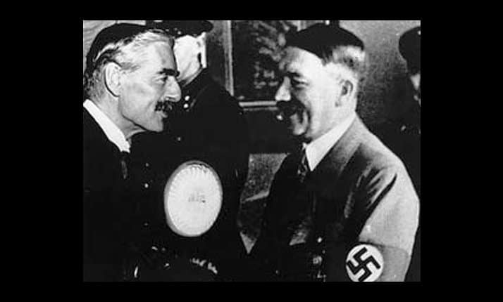 Hitler greets Neville Chamberlain on his arrival at Munich, 29 September 1938