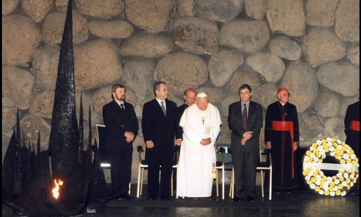 Pope John Paul II visited Yad Vashem in 2000. Here he is pictured in the Hall of Remembrance. During this visit he sought forgiveness for the actions of individual Catholic's involvement in the suffering of victims of the Nazis.