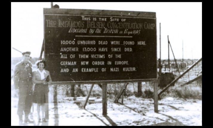 Bergen-Belsen after liberation. The British army erected a sign to say what they found.