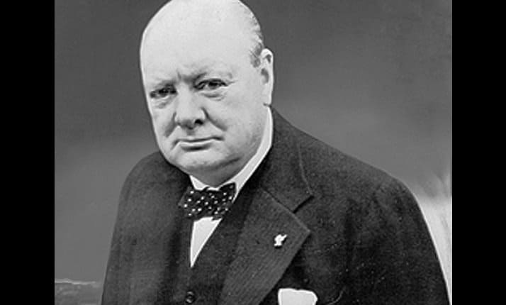 Winston Churchill, wartime Prime Minister determined to defeat Hitler and the Nazis.