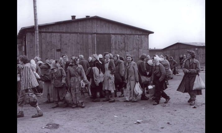 Bergen-Belsen, women prisoners after liberation.