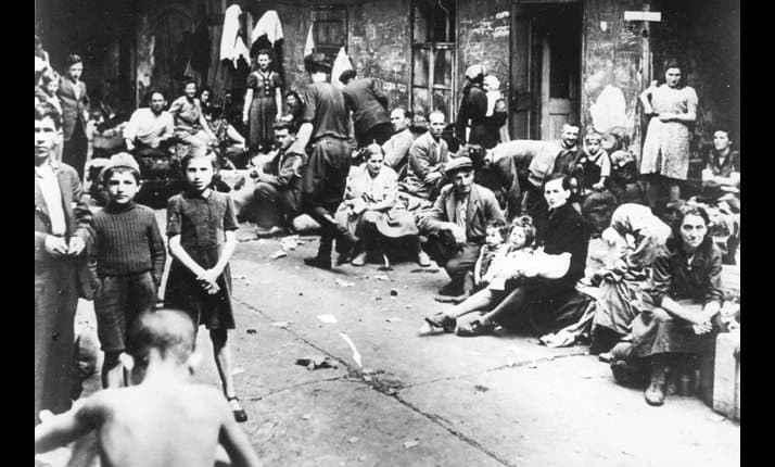 Jews fleeing Kielce, Poland after the murder of 42 survivors by their neighbours during a pogrom, July 1946