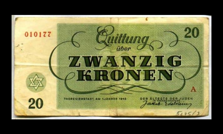 A fake 20 Krone banknote, made by the Germans to fool the Red Cross that the inmates of Theresienstadt were able to earn money, save at a fake bank and buy goods from fake shops. The Nazis succeeded in their deception.