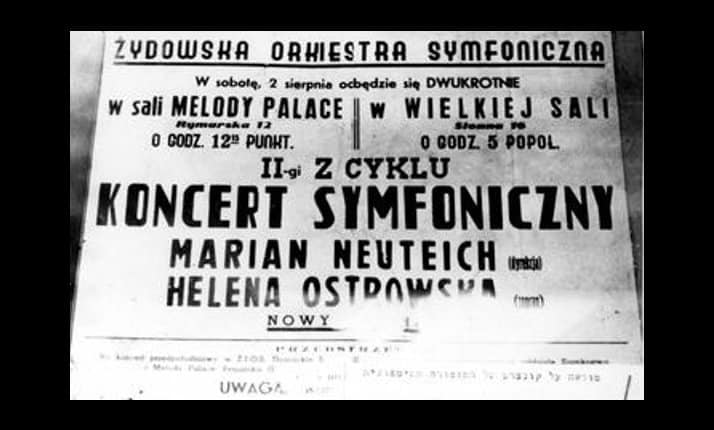 A notice for a concert by a Jewish symphony orchestra in the Warsaw ghetto.