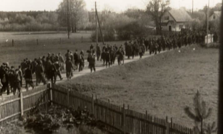 A secretly taken photograph of prisoners during a death march to Dachau.