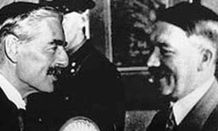 Adolf Hitler greets Neville Chamberlain on his arrival in Munich, 29 September 1938
