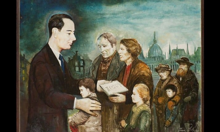 Raoul Wallenberg, 'The angel of life', a painting by Holocaust survivor Imre Sylasy