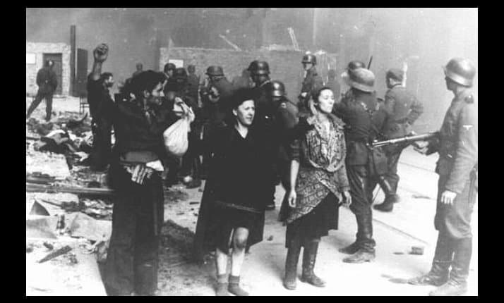 Jewish resistance fighters who bravely fought against the SS and German army during the Warsaw ghetto uprising between April 19 and May 16 1943, are captured.