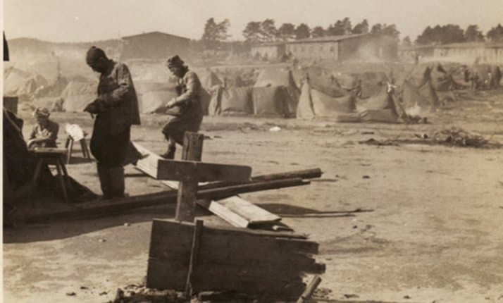 Survivors' tent city at Bergen-Belsen after liberation.