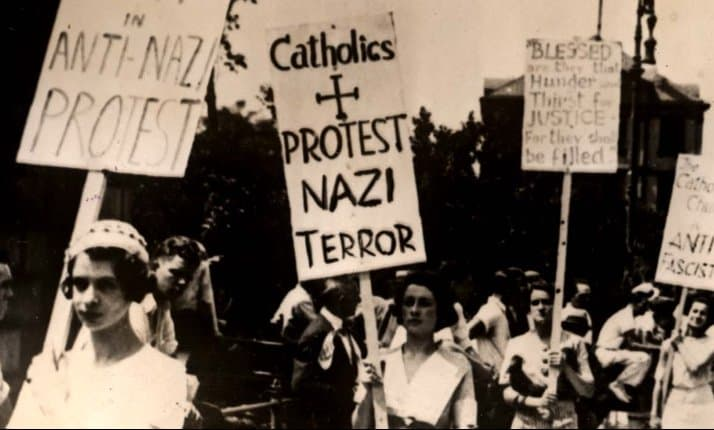 Catholic women join with Jewish New Yorkers to protest against the Nazis outside the German Consulate, New York. Why did the Catholic leadership not follow their example? Discover more by reading this section.