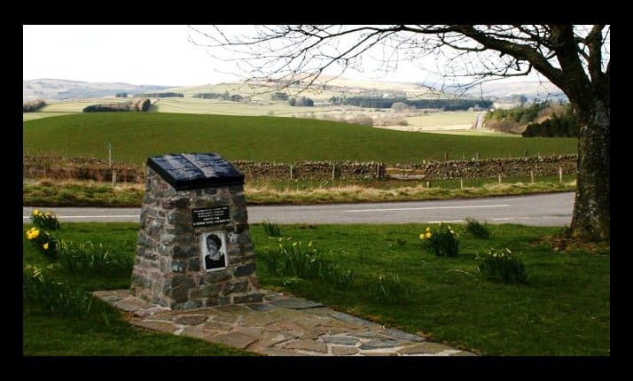 A memorial cairn to Jane Haining now stands between Dunscore Kirk and the village graveyard, Dunscore, Scotland.