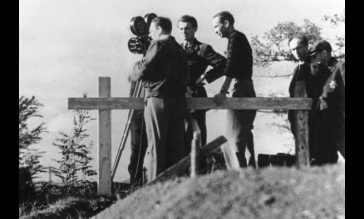 A German film crew at Theresienstadt during filming of a propaganda film, 'Der Fuehrer Schenkt den Juden eine Stadt' (The Fuehrer gives the Jews a town').