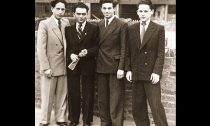 Four of 'The Boys'; Jewish orphans brought to the UK as refugees after the war.