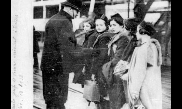 Jewish child refugees entering Britain as part of the Kindertransport.