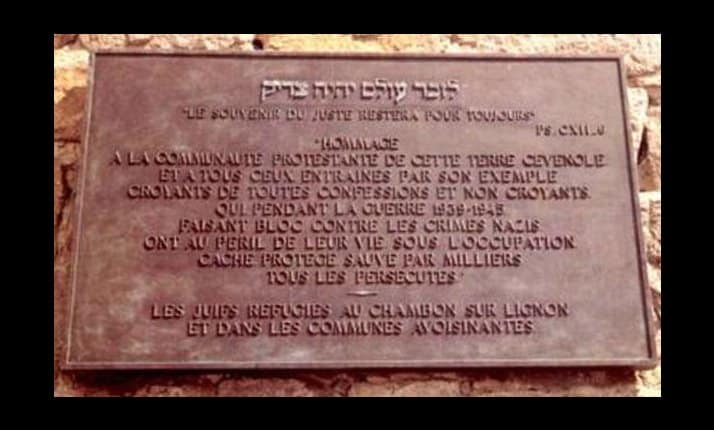 A plaque in honour of non-Jewish locals who hid Jews at Le Chambon Sur Lignon, France