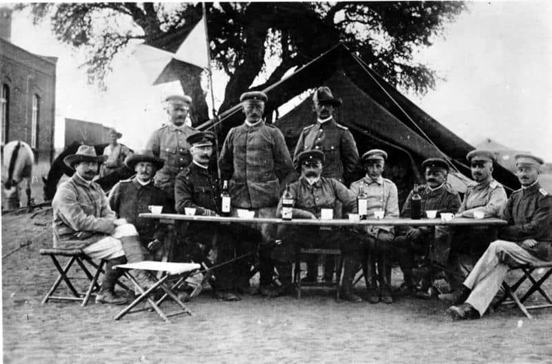 General Lieutenant Lothar von Trotha, the chief military commander in German South-West Africa, with his staff during the Herero uprising, 1904.