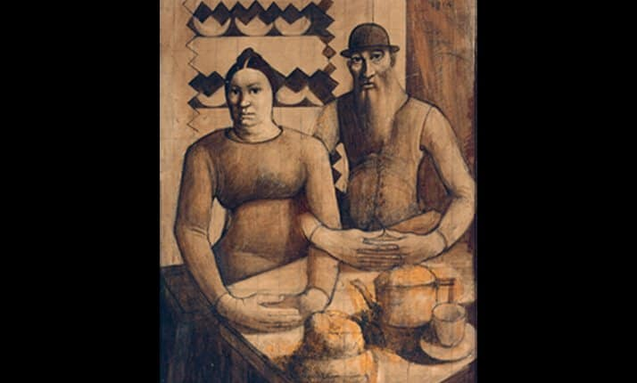Mark Gertler's painting 'Rabbi and Rabbitzen', painted on the eve of World War One.
