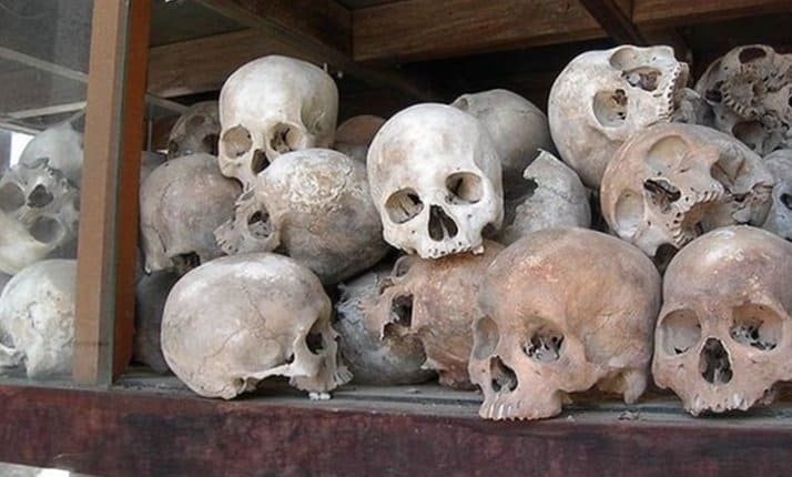 Remains of victims of teh Khmer Rouge, Cambodia