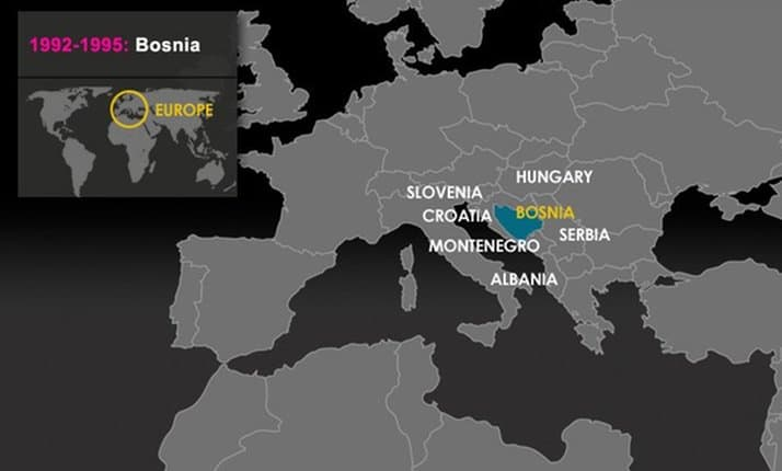A map of Europe showing the location of Bosnia-Herzegovina