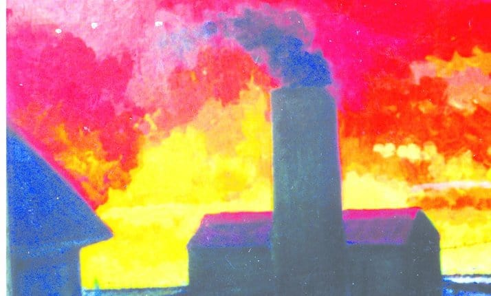 Birkin is depicting the gas chambers of the death camp, with the large chimney and thick black smoke. The sky looks red which can be seen to represent fire and burning.