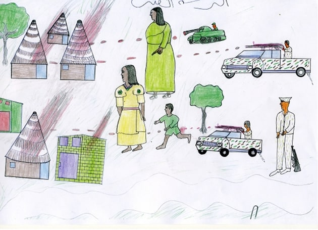 One of five hundred children's drawings collected by Waging Peace showing killings, bombing and looting committed by government troops. In November 2007, the drawings were accepted by the International Criminal Court as contextual evidence of the crimes committed in Darfur.