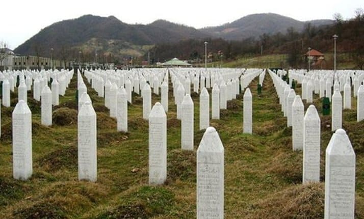 The Memorial to victims of the 1995 genocide at the Srebrenica-Potocari cemetery, Bosnia-Herzegovina