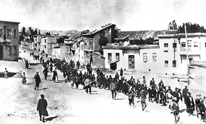Armenians being marched away to their deaths in the desert