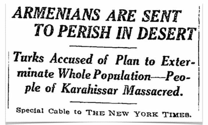 A New York Times report of a massacre during the Armenian Genocide, 1915