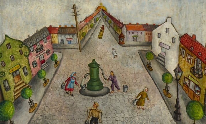 Chana Kowalska's painting 'The Shtetl' painted in 1934, shows a traditional Shtetl in Eastern Europe in the 1930s.