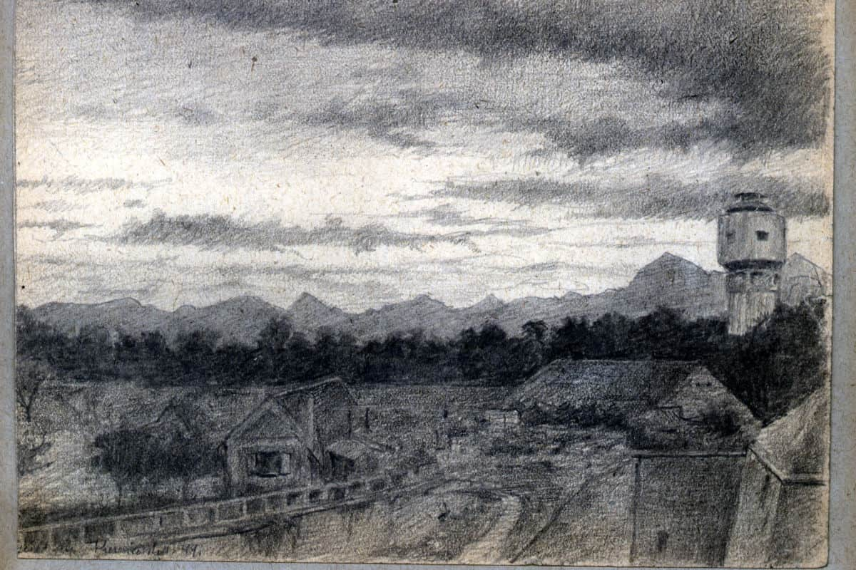 Camp and Tower, drawing by Arthur Goldschmidt.