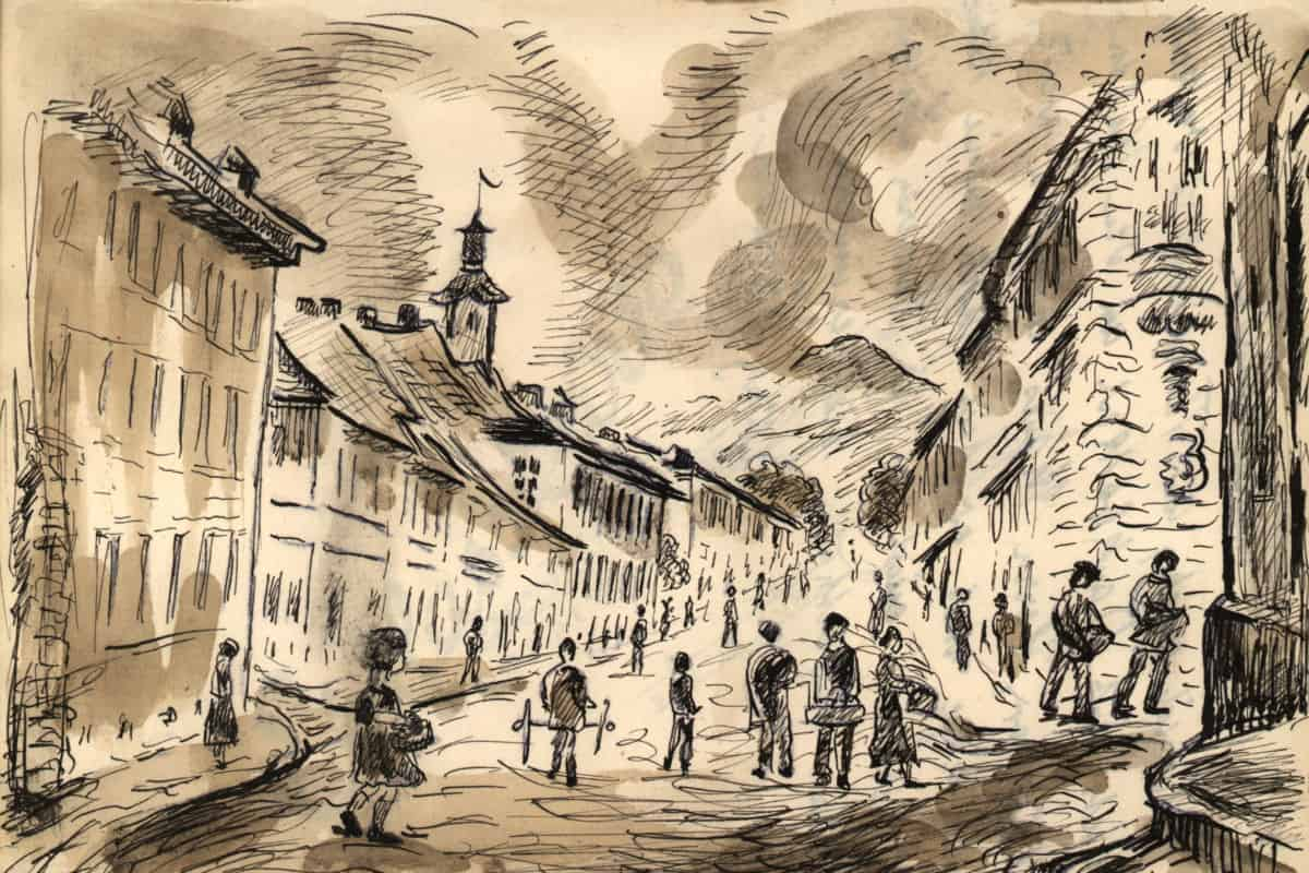 Terezin Street, drawing by Hedwig Brahn 1944.