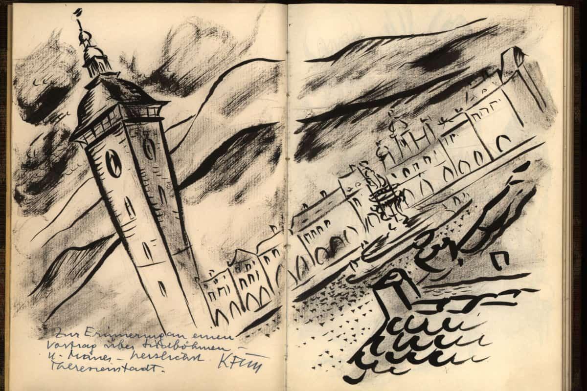 Terezin Church and Street, drawing by Karl Fleischmann.