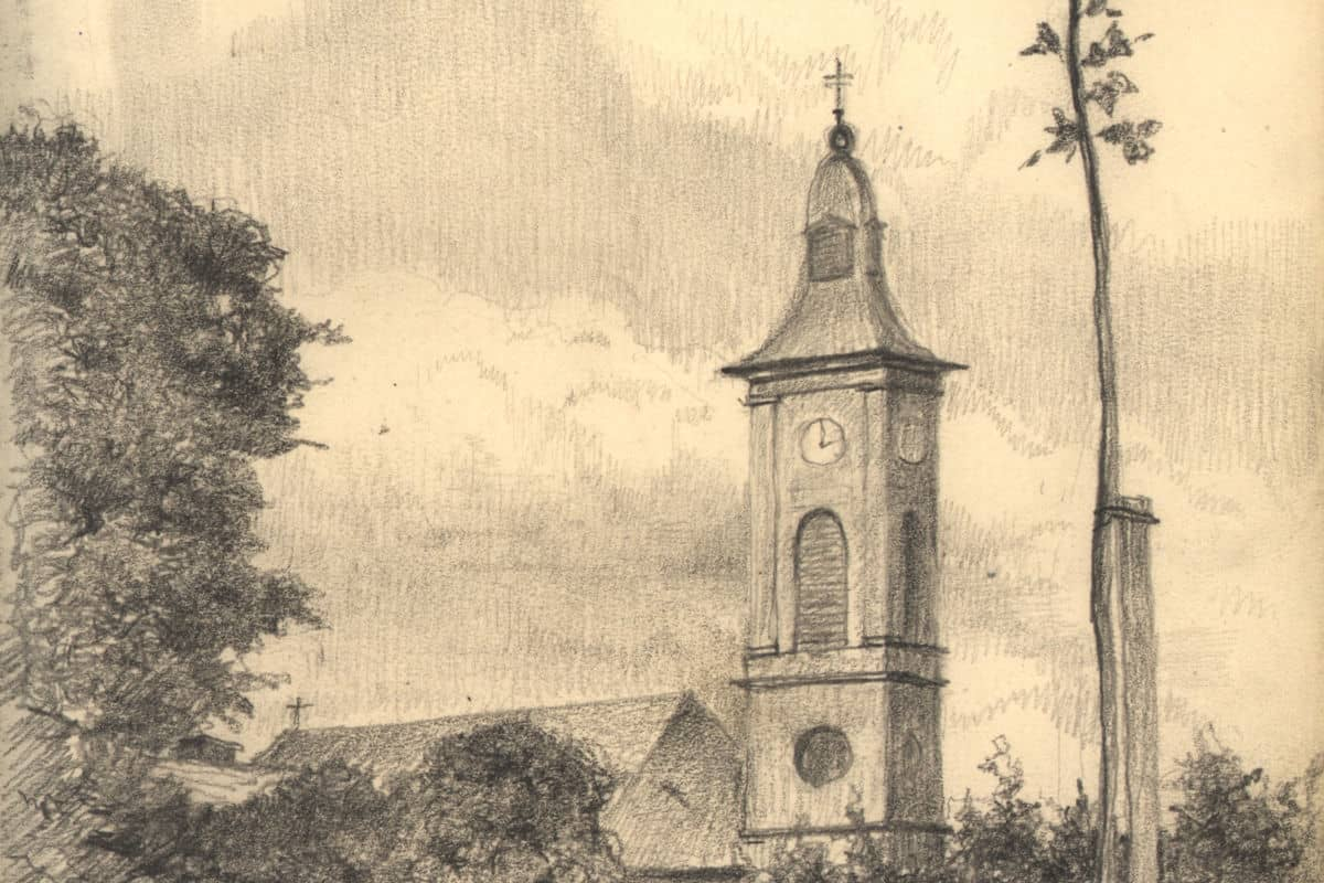 Terezin Church. Sketch by Arthur Goldschmidt 1944.