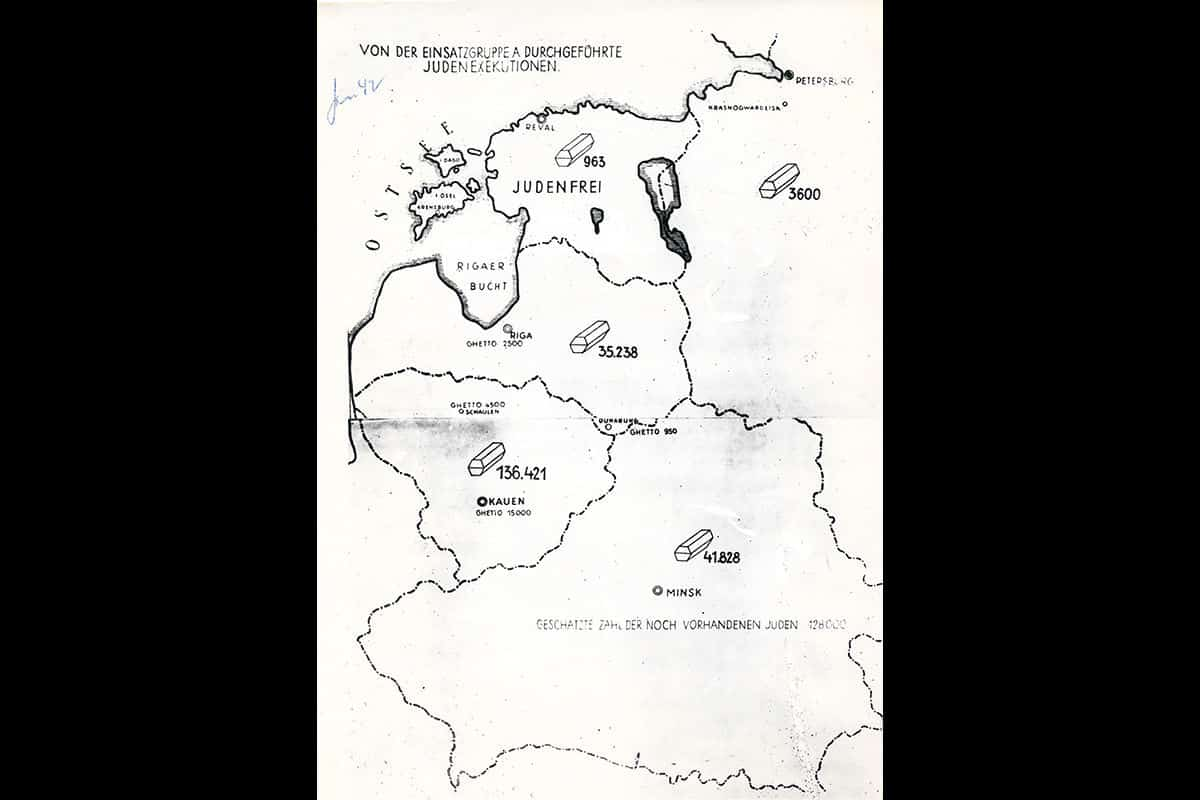 This map indicates the number of Jews murdered by the Einsatzgruppen (killing squads which followed the German army) in each country. The map shows modern day Belarus, at the bottom, then continuing clockwise, Lithuania, Latvia, Estonia, and Russia. 