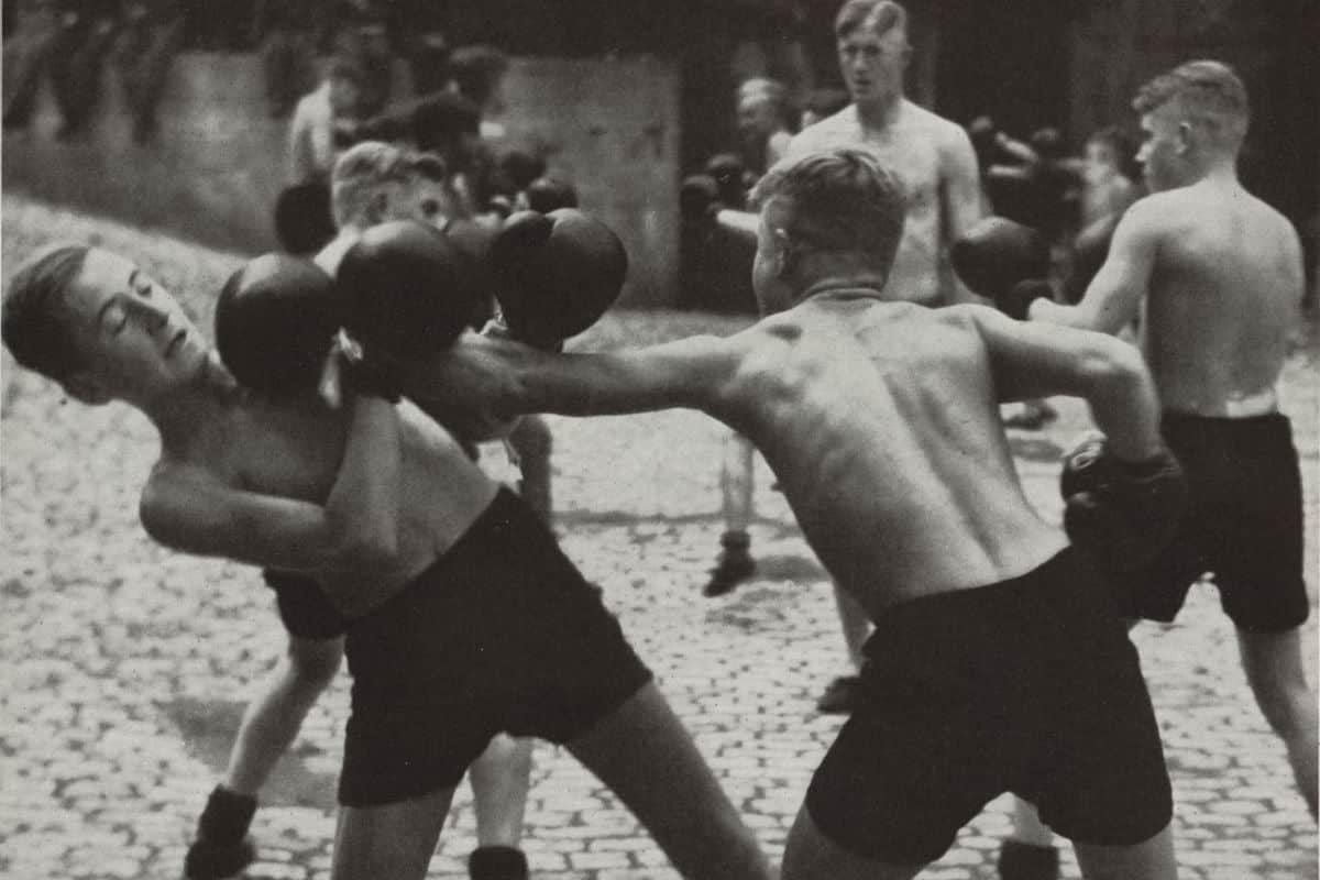 Members of the Hitler Youth programme boxing in 1937. The Hitler Youth programme was set up in 1922 with the aim of educating the youth of Germany in Nazi beliefs and physically preparing them for their future as the master race.