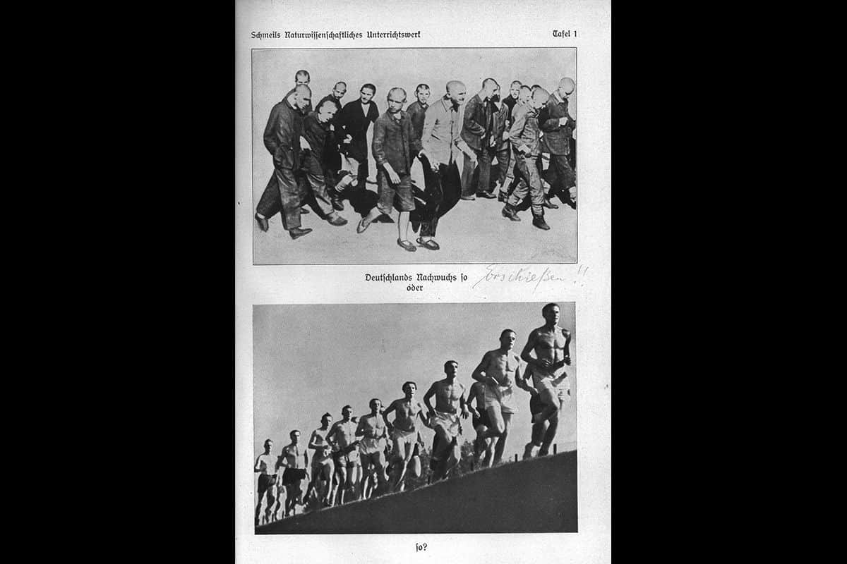 This page warns readers of the dangers of 'racial pollution'. The text asks the reader to compare the two photographs, stating 'The German future generation, like this or like this? Next to this text someone has scribbled a phrase meaning 'shoot them' with two exclamation marks next to it. The page comes from a Nazi school book entitled Introduction to Heredity, Family Studies, Race Science and Population Policy. Hitler made racial science a compulsory school subject in 1933.