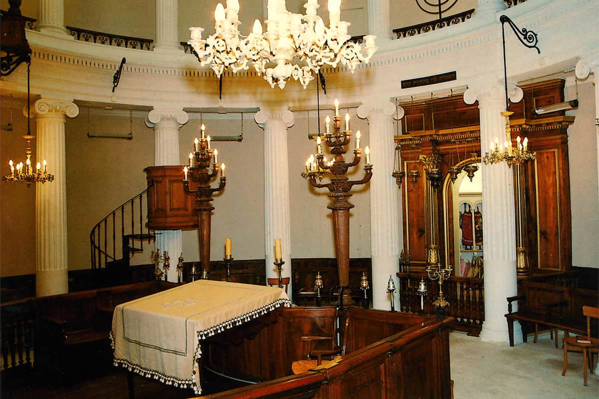 The prayer room inside Synagogue d'Avignon, a 19th century synagogue which was built on the site of an older synagogue destroyed in a fire.