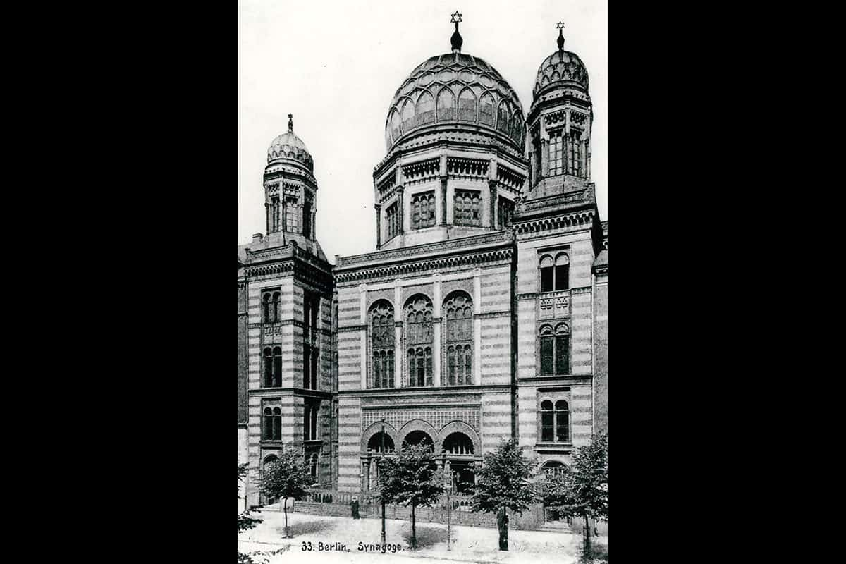 The Neue Synagogue in Berlin. One of the few synagogues to survive Kristallnacht, it was heavily damaged in World War Two. It was eventually repaired and still stands today.