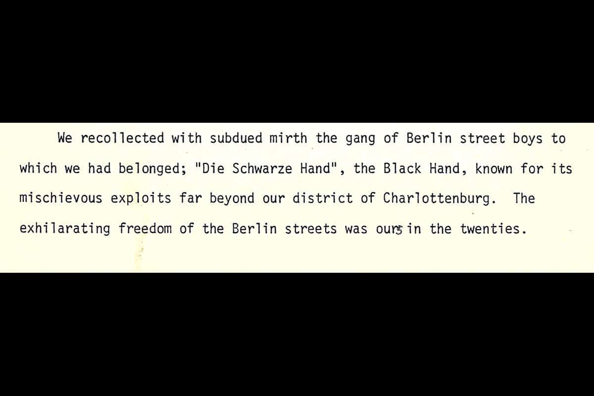 Here Kurt's brother Arnold reflects on the siblings' mischievous youth on the streets of Berlin.
