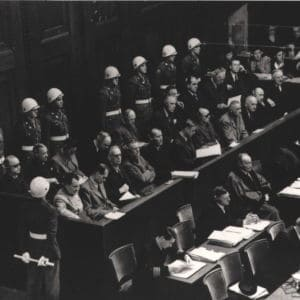 <p>On 20 November 1945, the Nuremberg trials began. Twenty one top level Nazis were tried for crimes against humanity and war crimes.</p>