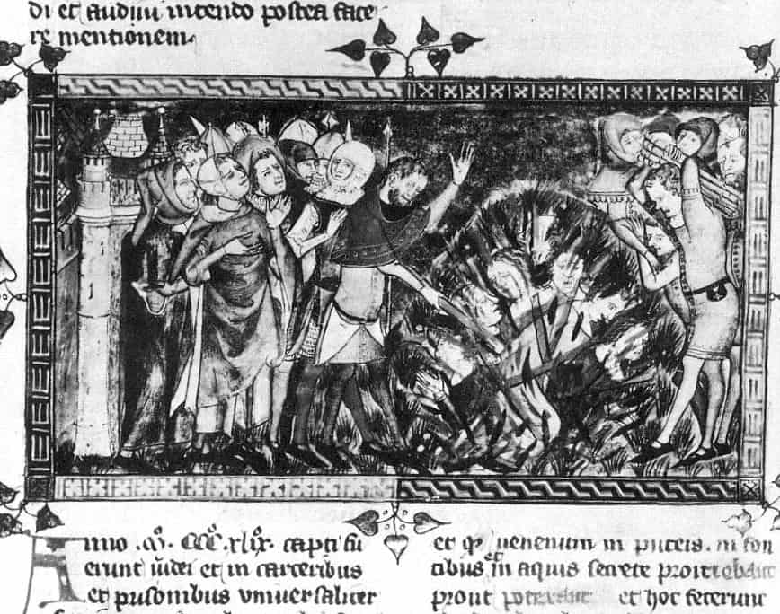 A drawing depicting Jews in Brussels being burnt to death during the Black Death epidemic in 1349.