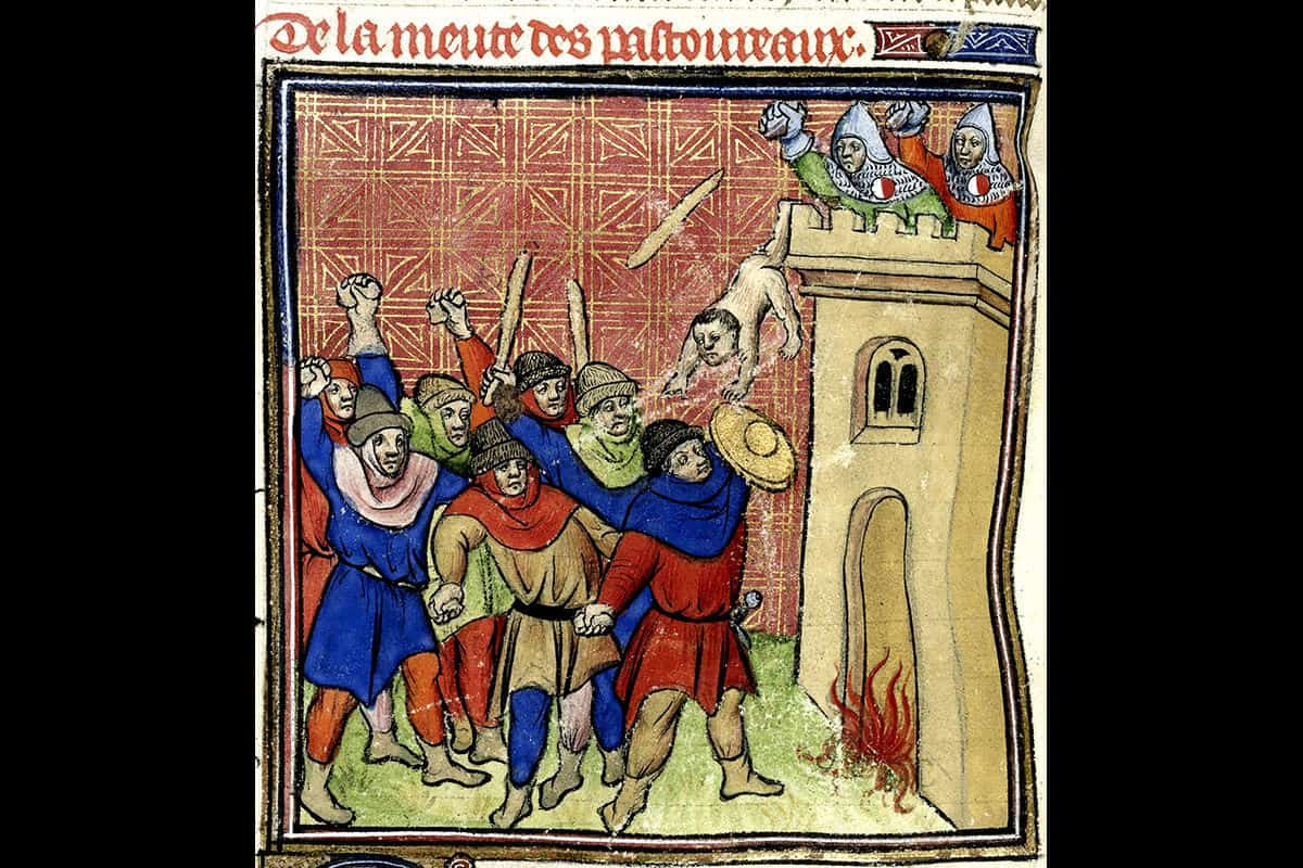 Antisemitism continued throughout the Crusades. This painting depicts a scene from the Third Crusade (1320). Five hundred Jews hide in the tower of Verdun-sur-Garonne as Crusaders set it on fire.