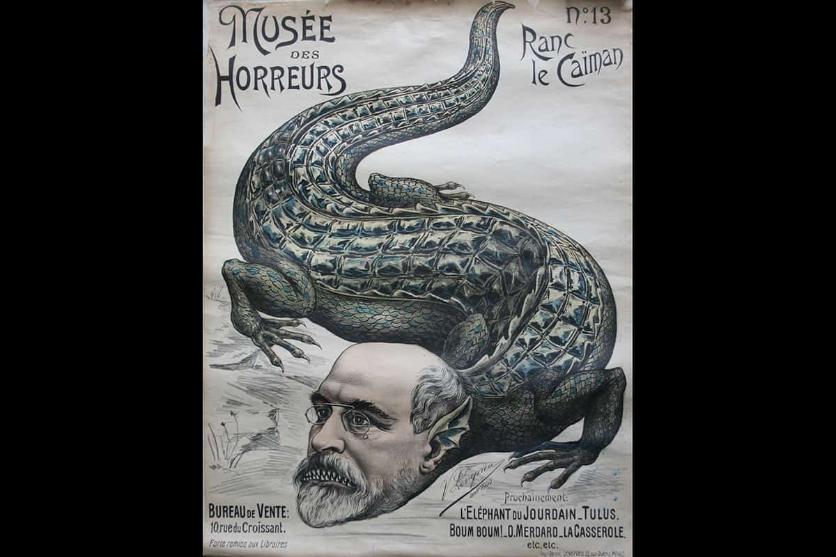 The Dreyfus Affair was widely discussed in the media. This image is a political cartoon from a poster, showing Arthur Ranc as a crocodile. Ranc was an outspoken defender of Dreyfus throughout his trial.
